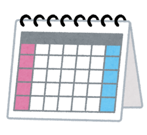 カレンダーのフリー画像